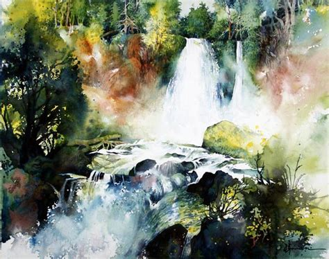 watercolor waterfall tutorial anne abgott award winning watercolor artist picmia