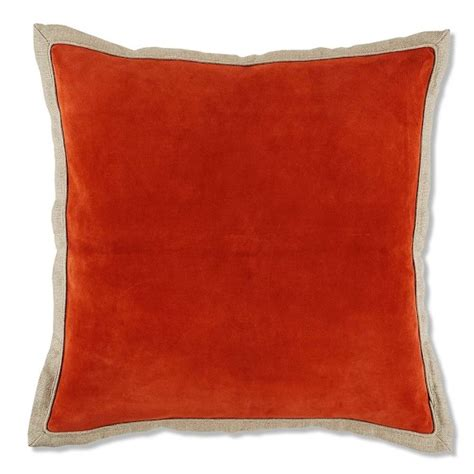 suede pillow cover with linen backing coral williams sonoma