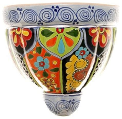 Mexican Planters Large by Mexican Talavera Wall Planter X Large Design D