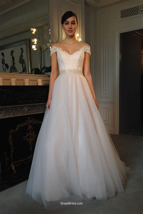Tulle Wedding Dresses by Modern Lace And Tulle Cap Sleeve V Neckline Winter Wedding