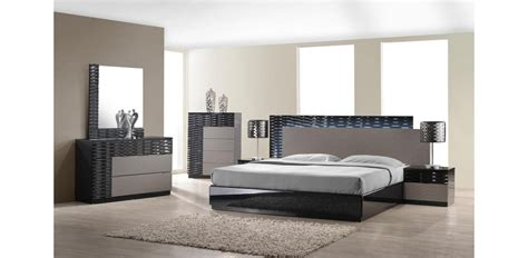 Light Bedroom Set Roma Modern Grey Black Bedroom Set Led Light 5pc