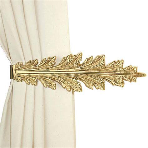 leaf curtain tie backs vintage pair curtain tie back holder fern leaf bright brass