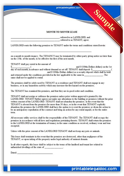 printable rental agreement month to month month to month rental agreement form