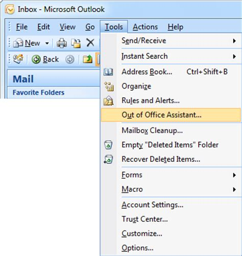 out of office message outlook 2010 template out of office assistant automatic replies vacation