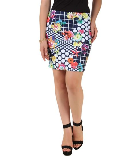 buy nod blue 95 polyester 5 spandex printed skirt for