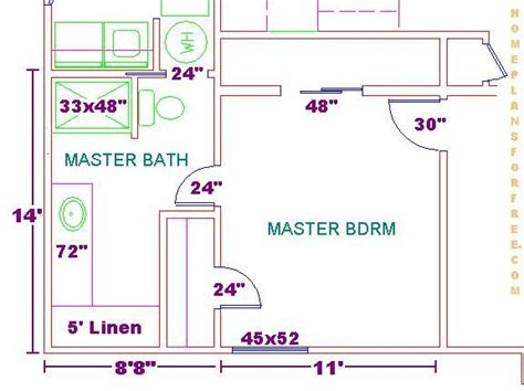 Master Bedroom And Bathroom Floor Plans Floor Plan For A 8x14 Bath And 11x13 Bedroom House