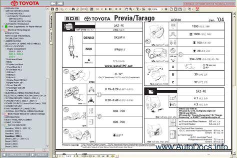 toyota previa tarago repair manuals download wiring diagram electronic parts catalog epc toyota previa tarago workshop service repair manual repair manual order download