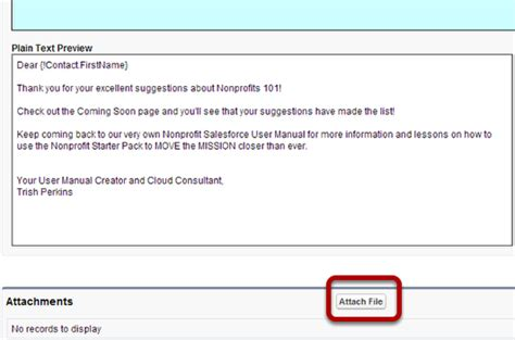 Email Basics Add An Attachment To An Email Template Salesforce 101 Email Template For Sending Attachment