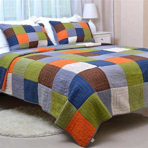 Handmade Quilted Bedspreads - chausub patchwork quilt set 3pc handmade quilts bedding