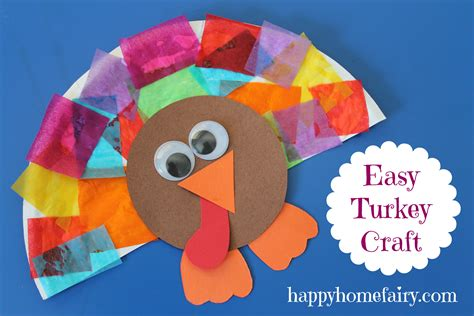 Paper Plate Turkey Crafts - easy turkey craft happy home