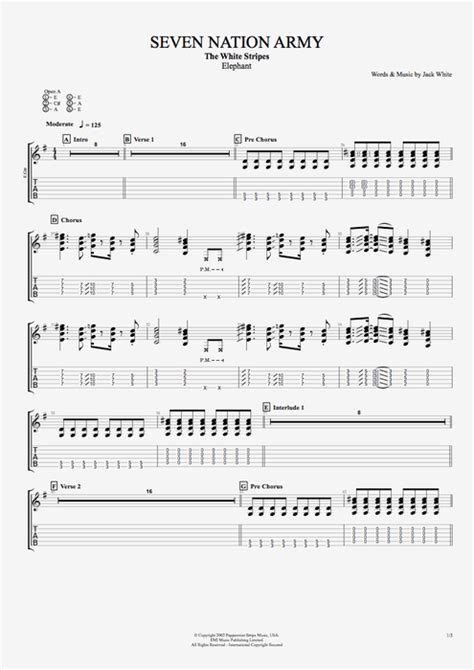 Drum Tutorial Seven Nation Army | seven nation army by the white stripes full score guitar
