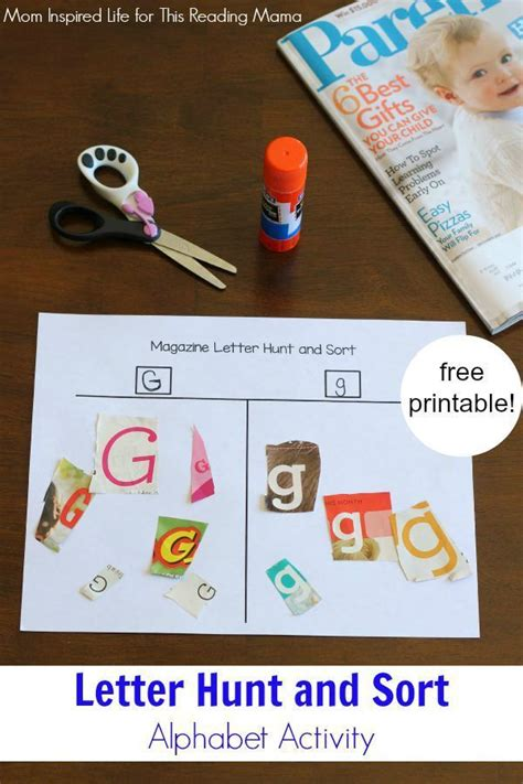 printable magazine letters for literacy station magazine letter hunt and sort activity mom activities