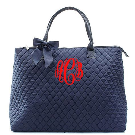 Personalized Quilted by Monogram Quilted Navy Tote Bag Large Personalized Solid Navy