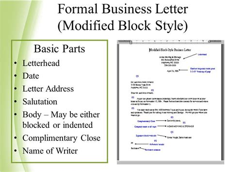 Modified Business Letter Definition Block Format With Mixed Punctuation Cover Letter