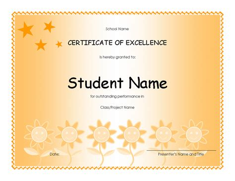 templates certificates student excellence award