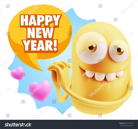 new year emoji 3d rendering emoji saying happy new stock illustration