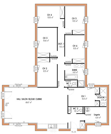 Plan De Maison 4 Chambres Plain Pied Gratuit by Plan De Maison 6 Chambres Plain Pied Gratuit