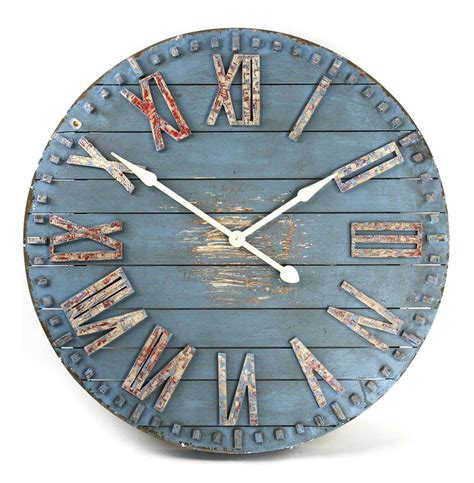 Cottage Wall Clock by Rustic Cottage Blue Painted Wood Metal Wall