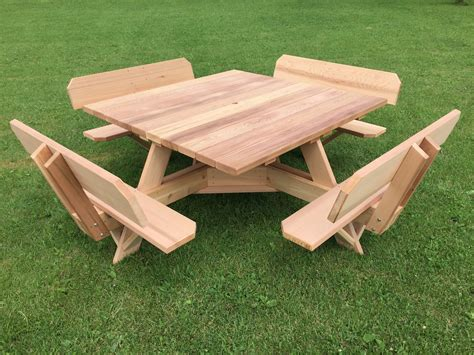 western red cedar picnic table  attached backs