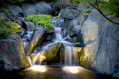 waterfall aquascape pond and landscape lighting tropical landscape