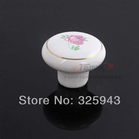 red kitchen knobs 2pcs 38mm country style garden white flower red kitchen