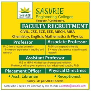 Civil Engineering Plus Mba by Sasurie Engineering Colleges Coimbatore Wanted Professor