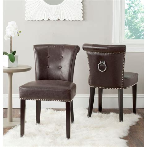 leather dining side chairs safavieh sinclair antique brown leather side chair set of