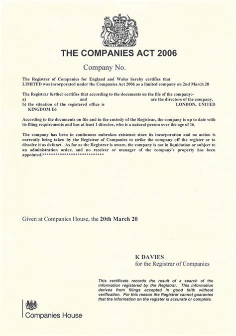 companies house uk certificate of good standing for uk companies gt gt 16 beaufiful share certificate