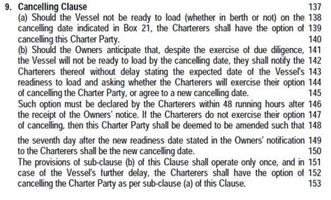 sea voyage charters cancelling clause