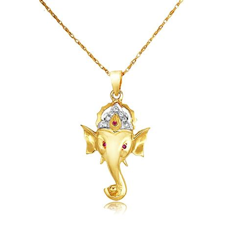 Queens Diamond and Jewelry Ganesh Pendant with Ruby and Diamond in 14K Yellow Gold