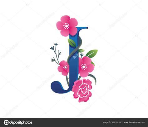 Floral J floral j letter alphabet logo stock vector