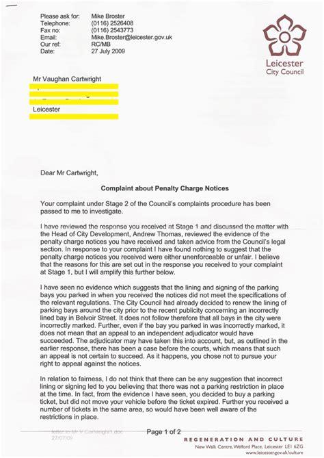 Complaint Letter Money Saving Expert leicester city council parking bays 10 09