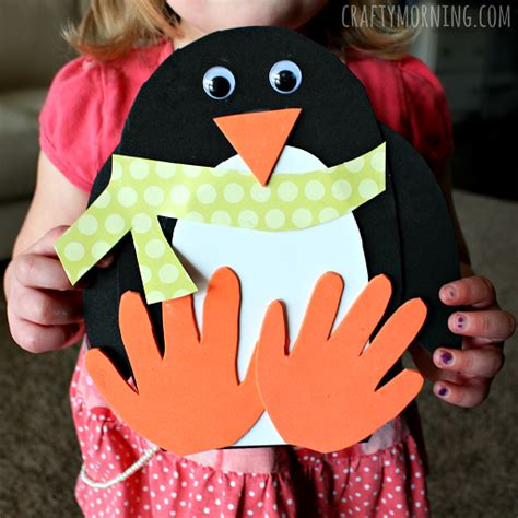 winter kid crafts make a handprint penguin craft for it s an easy