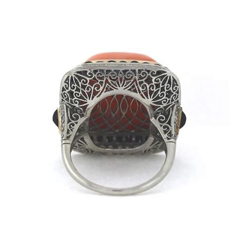 Handmade Platinum Rings - handmade coral onyx platinum ring for sale at 1stdibs