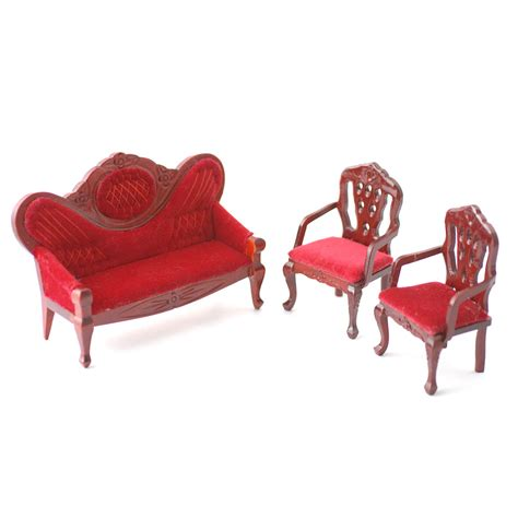 dolls house sofa and chairs df108 1 12 scale red upholstered sofa and 2 chairs