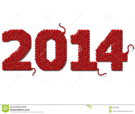 ntv7 new year 2014 new year 2014 of knitted fabric isolated on white stock