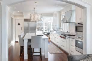 walnut and white transitional kitchen