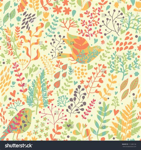 color pattern nature birds nature vintage floral seamless pattern stock vector