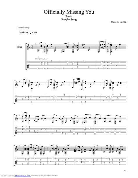 tutorial guitar officially missing you officially missing you guitar pro tab by sungha jung