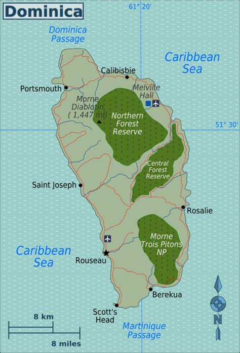 dominica on a map dominica wikitravel