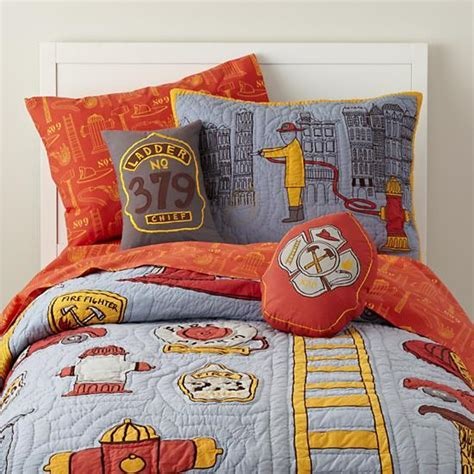 land of nod bedding firefighter themed bedding set the land of nod