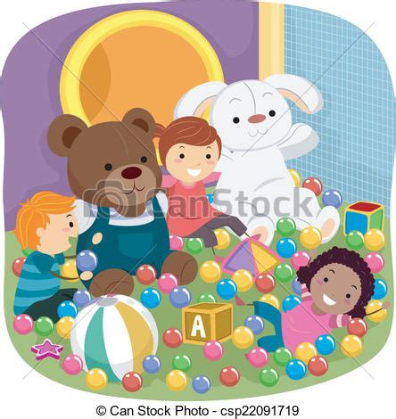 Treehouse Slides - vector clip art of indoor playground kids illustration featuring kids playing csp22091719