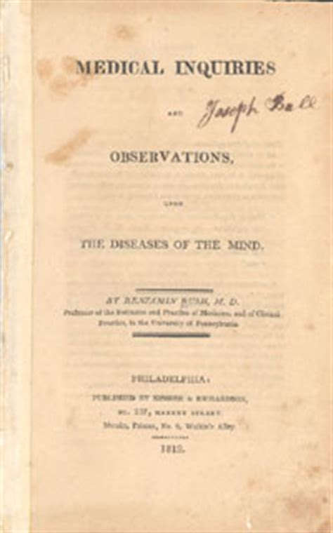 inquiries and observations upon the diseases of the mind classic reprint books benjamin inquiries and observations upon