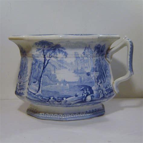gravy boat idiom antique challinor lozere blue transferware chamber pot