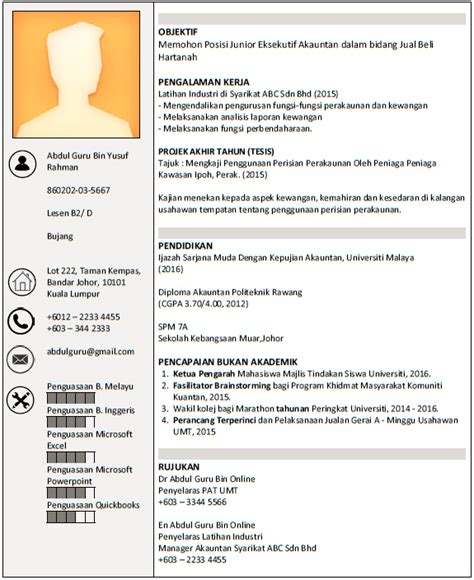 format cv untuk guru panduan membuat resume contoh resume boleh diedit