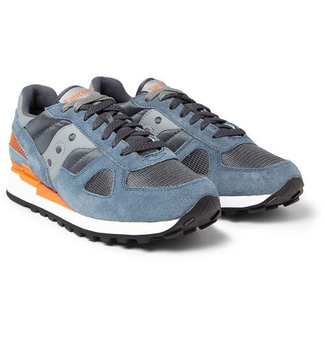 saucony sneakers mens saucony shadow original suede and mesh sneakers in blue