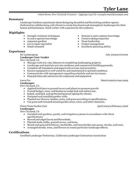 landscaping resume sample create my resume landscaping cv samples