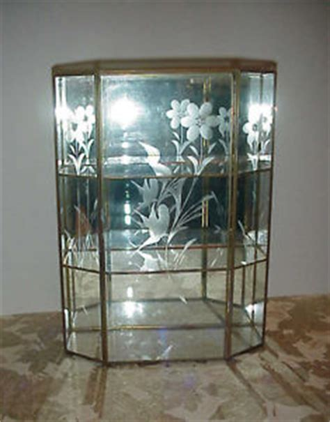 Glass And Brass Wall Curio Cabinet by Vintage Hexagon Glass Brass Curio Display Wall