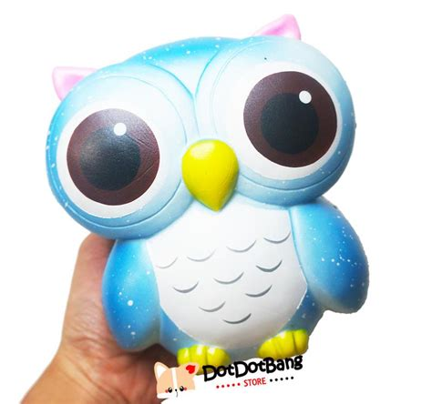 Squishy Blue Big Owl Licensed By Squishy licensed shimmery jumbo owl scented rising squishy dotdotbang