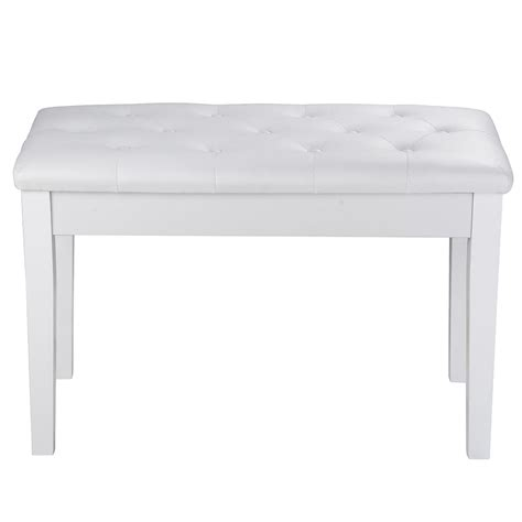 white piano bench white black wood leather piano bench padded double duet